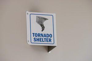 Photo of a Tornado Shelter sign